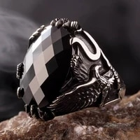 925 sterling silver mens ring with zircon stone and eagle design fashion turkish premium quality handmade jawelery