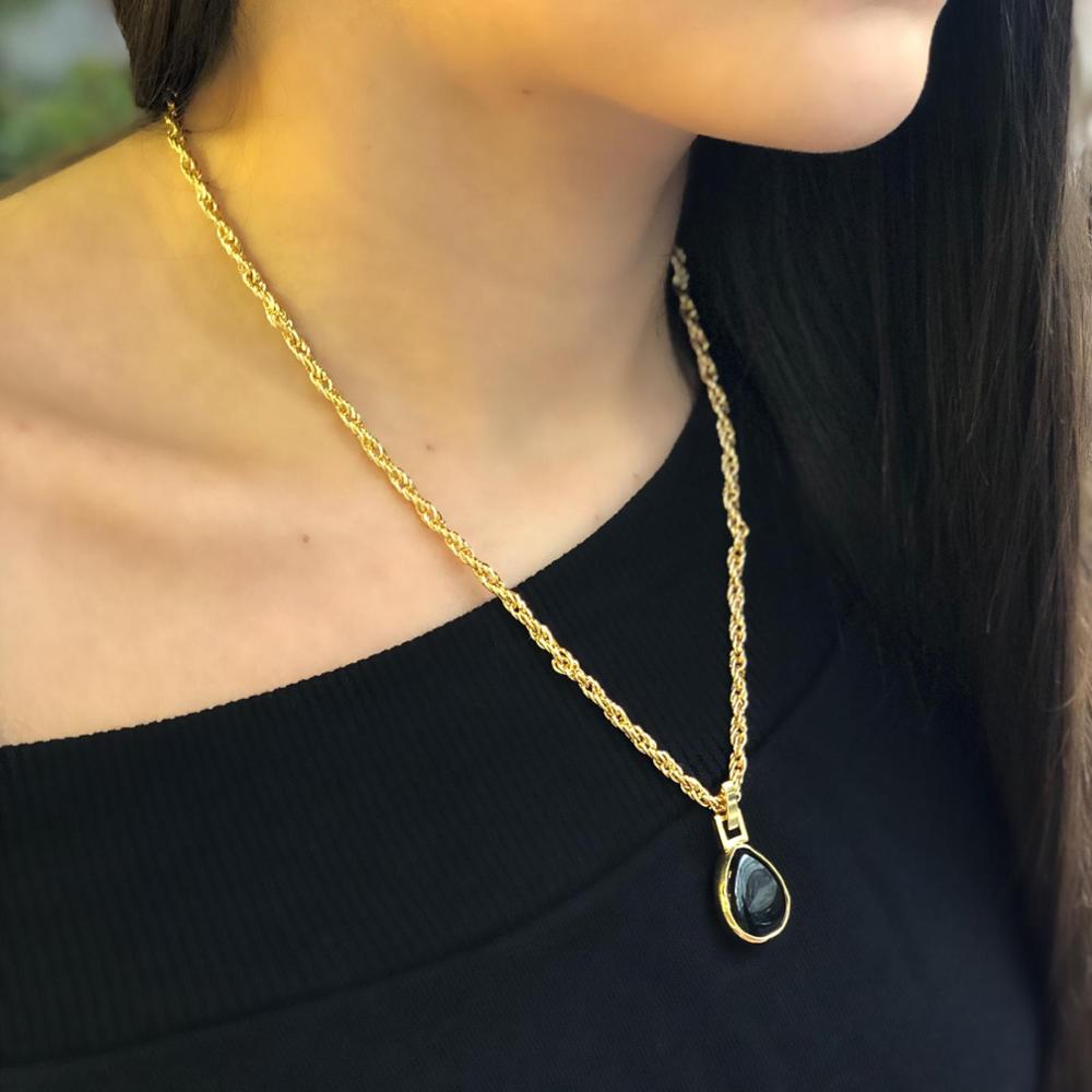 GULCE DERELI, BLACK DROP NATURAL STONE NECKLACE, CHAIN NECKLACE, GIFT BOX, GOLD/SILVER PLATED