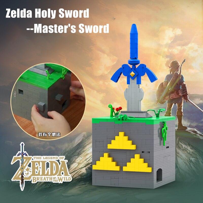 Zelda Дыхание дикой природы Moc архитектура Гироскопический замок и мастер меч блоки оружие кирпичи обучающие игрушки для детей подарок