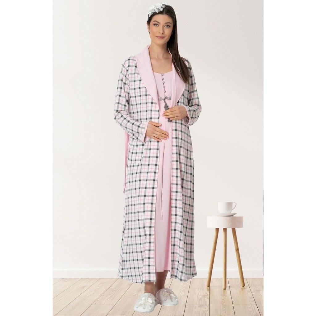 المرأة بعد الولادة ثوب النوم رداء مجموعة منقوشة روب للنوم الوردي ثوب النوم الأمومة وارتداء بعد الولادة