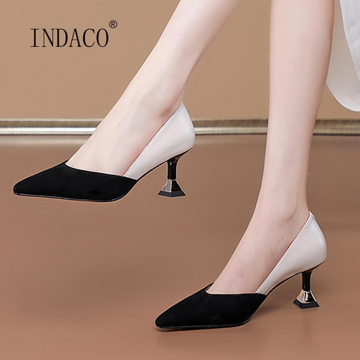 Sandalias عالية الكعب موضة Kid Suede منتصف الألوان الصنادل أحذية النساء أشار تو الأسود النبيذ الأحمر أحذية الحفلات 6.5 سنتيمتر حجم صغير 33