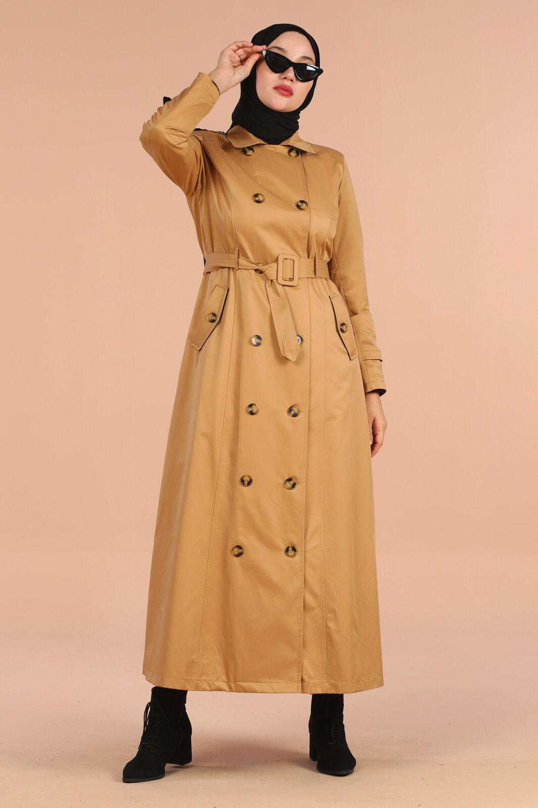 full length trench coat front buttoned waist belt quality model müslim fashion