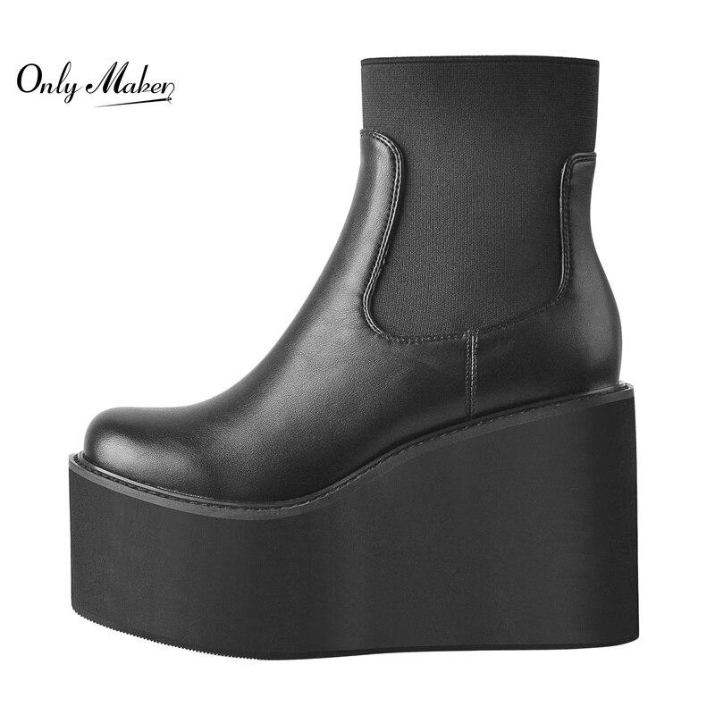 أحذية بنعل مستدير من Onlymaker أحذية بوت عالية الكعب بنعل مرتفع أحذية بوت مارتن للكاحل سوداء غير لامعة مقاس كبير