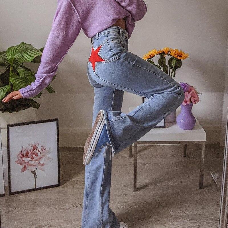 Pentagram Patches High Waist Straight Jeans Women 90s Streetwear Y2K Aesthetic Denim Trousers Vintage Wide Leg Flare Pants Blue