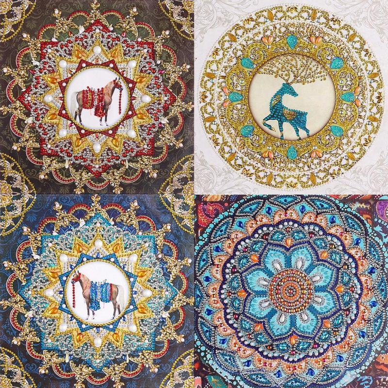 Pintura de diamante de taladro completo 5D hazlo-tú-mismo, flor de Mandala de belleza, manualidades de punto de cruz, Kits de arte para pared del hogar, imagen de regalo de Navidad