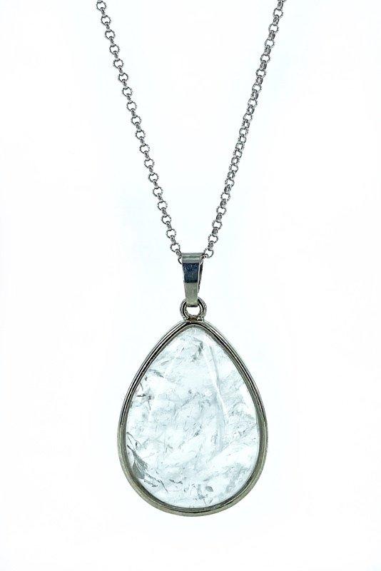 Collar de plata piedra de cuarzo cristal Natural gota