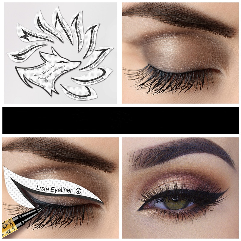 10pcs Eye Makeup Stencils Winged Eyeliner Stencil Template Shaping Tools Eyebrows Eye Shadow Makeup Template Tool stickers Card недорого