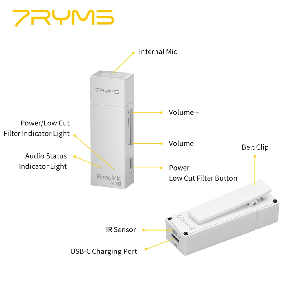 7YRMS RimoMic Lite UC Mini Wireless Microphone for USB C Phone,Type C Smartphone Mic for Recording Interview Streaming enlarge
