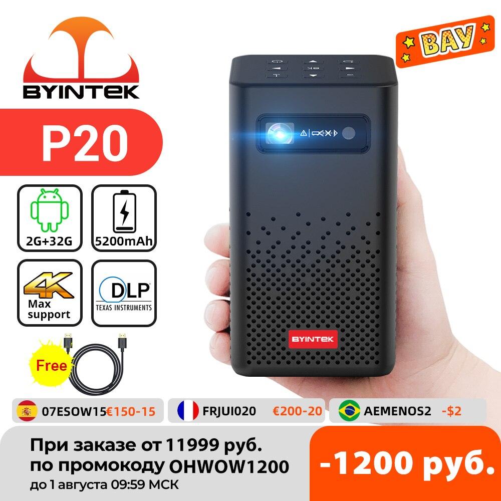 جهاز عرض صغير محمول من byintk P20 يعمل بنظام تشغيل أندرويد مزود بخاصية Wifi بدون شاشات للتلفاز وجهاز عرض LED يعمل بالليزر بدقة 4K 1080P للهواتف المحمولة ...