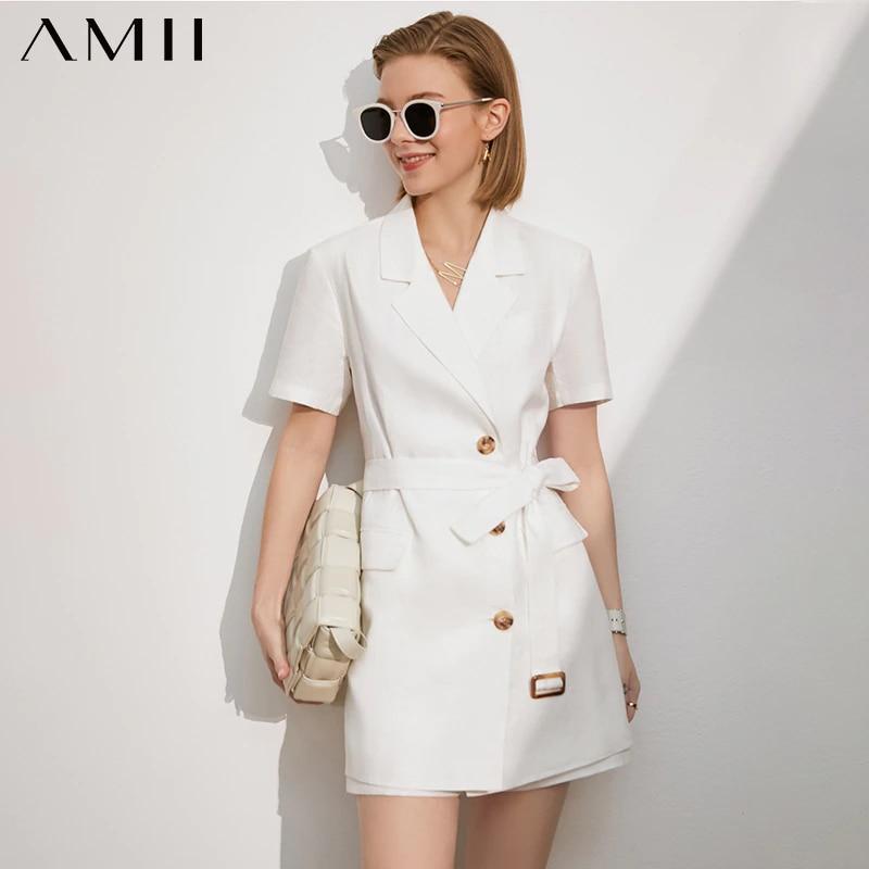 Amii بساطتها الربيع الصيف جديد المرأة معطف الرسمى سيدة 100% الكتان الصلبة سترة النساء السببية المرأة قصيرة 12140173