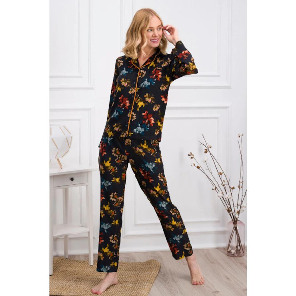 WOMEN PAJAMA SET,LONG SLEVE BUTTON FRONT,%100 ORGANIC COTTON HIGH QUALITY,BOTTOM AND TOP PAJAMA SET SLEEP WEAR,BED WEAR