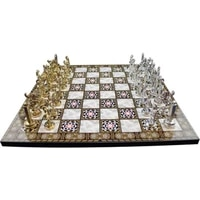 metal roman chess set and mother of pearl board luxury classy product fast shipping