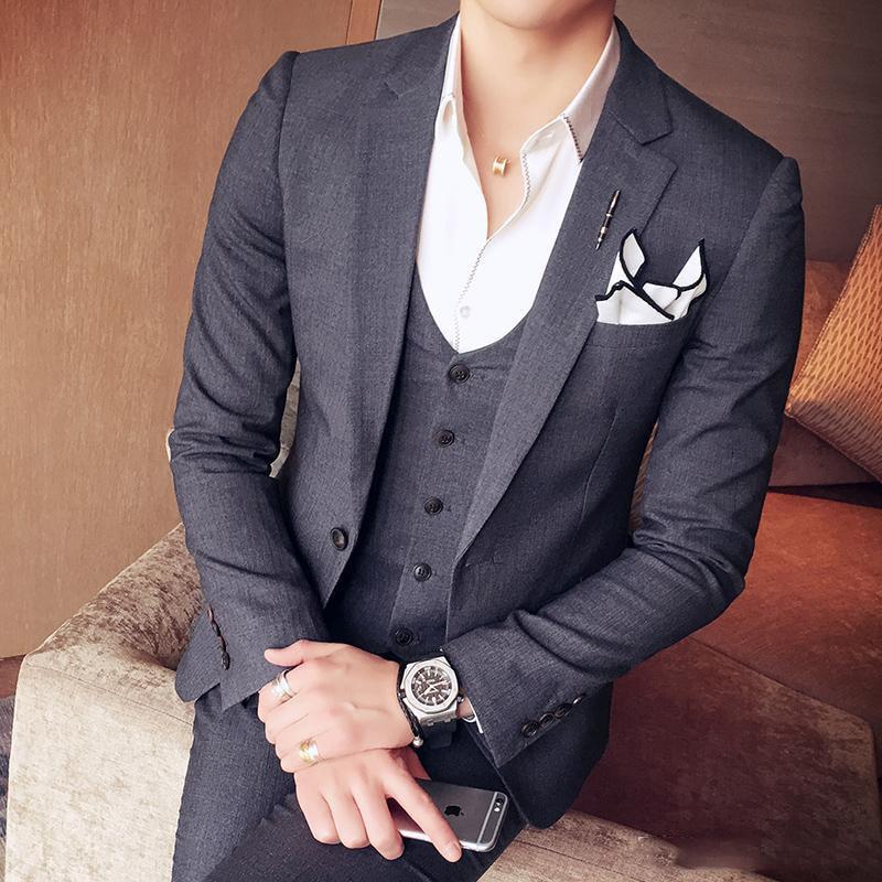 Приталенная Свадебная искусственная серая одежда для мужчин, официальная одежда, изготовленная на заказ одежда для лучшего человека, сваде...