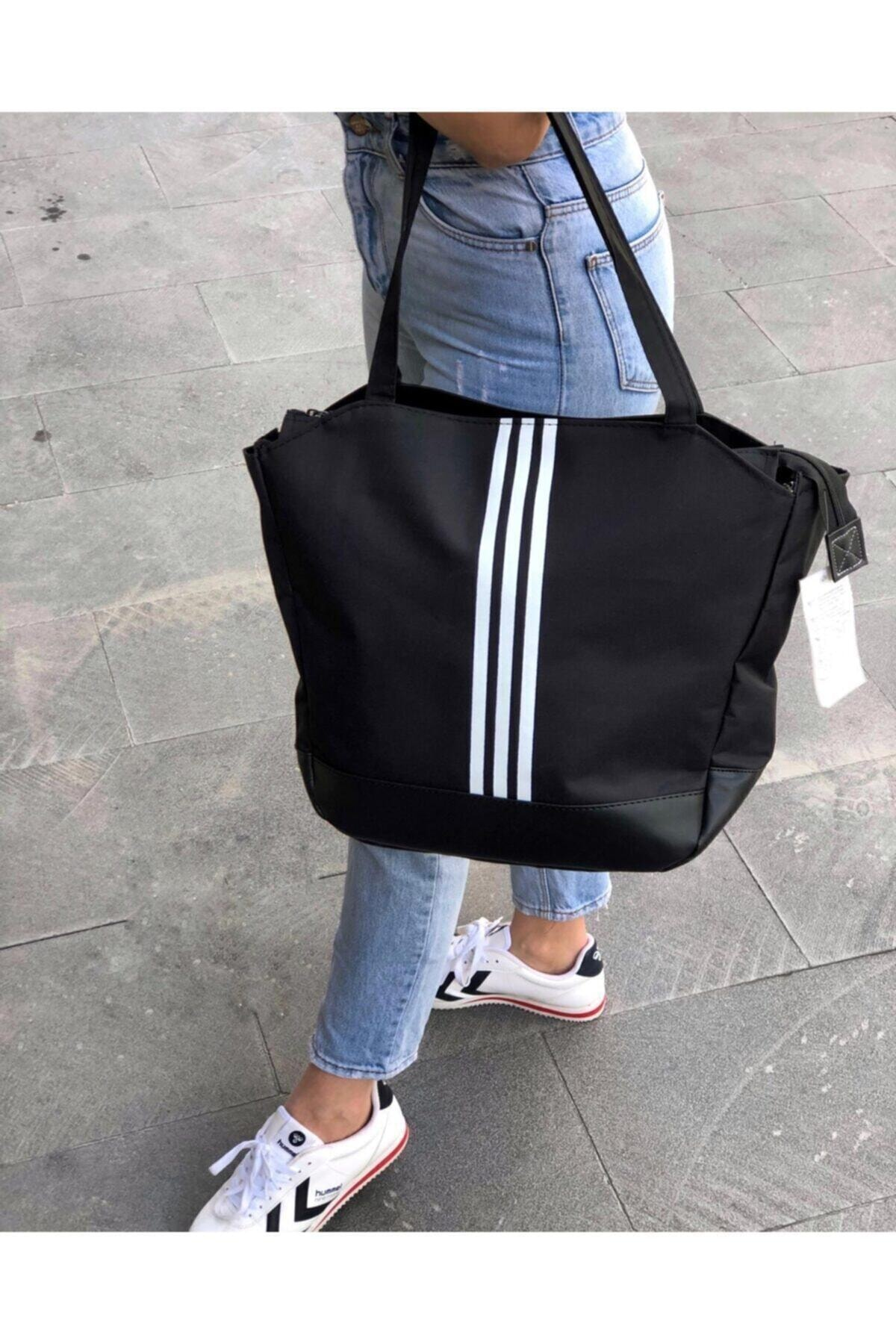 Women's Black White Striped Bottom Part Leather Detail Shoulder Bag