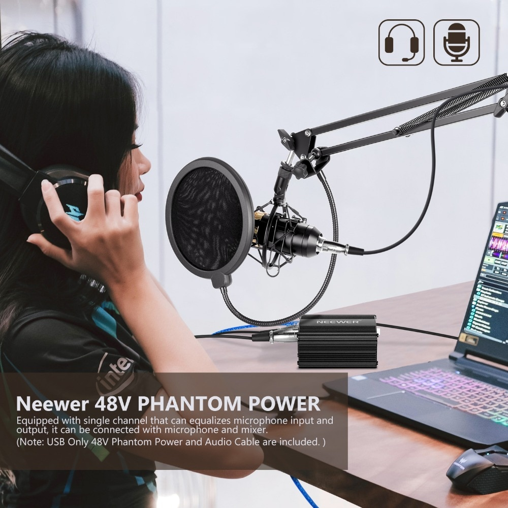 Neewer Eu Plug 220v 1 Channel 48v Phantom Power Supply Adapter One Xlr Audio Cable For Any Condenser Microphone Recording Phantom Power Phantom Power Supply48v Phantom Aliexpress