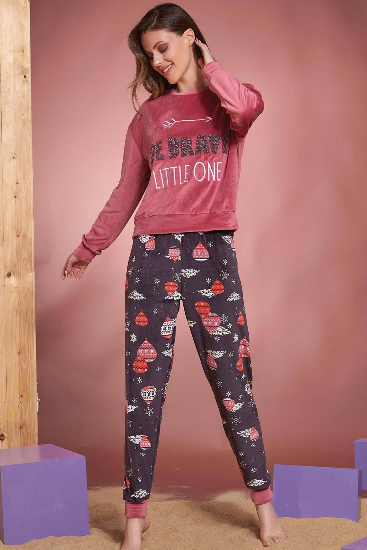 NEW SEASON Women's Pink Super Soft Embroidered Pajamas SET