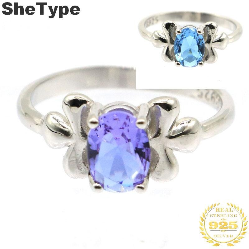 15x8mm venda quente 2019 2.4g criado cor mudando alexandrite & topázio 925 sólido prata esterlina anéis