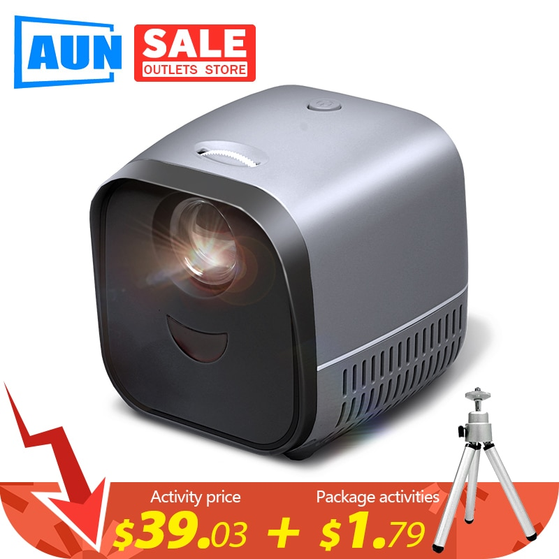 AUN MINI Portable Projector L1|LED Beamer Video Projector for 1080P Home Theater|Mirroring Screen Fo