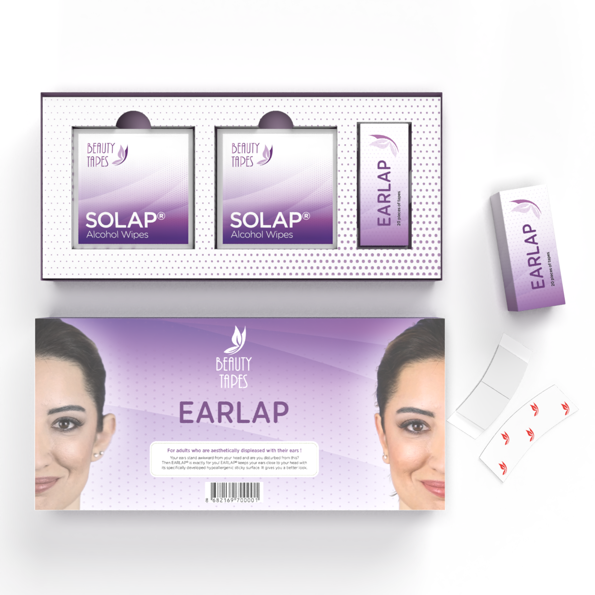 Beauty Tapes EARLAP Ear concealer Corrector Instant effect sticking system for protruding ears, ear