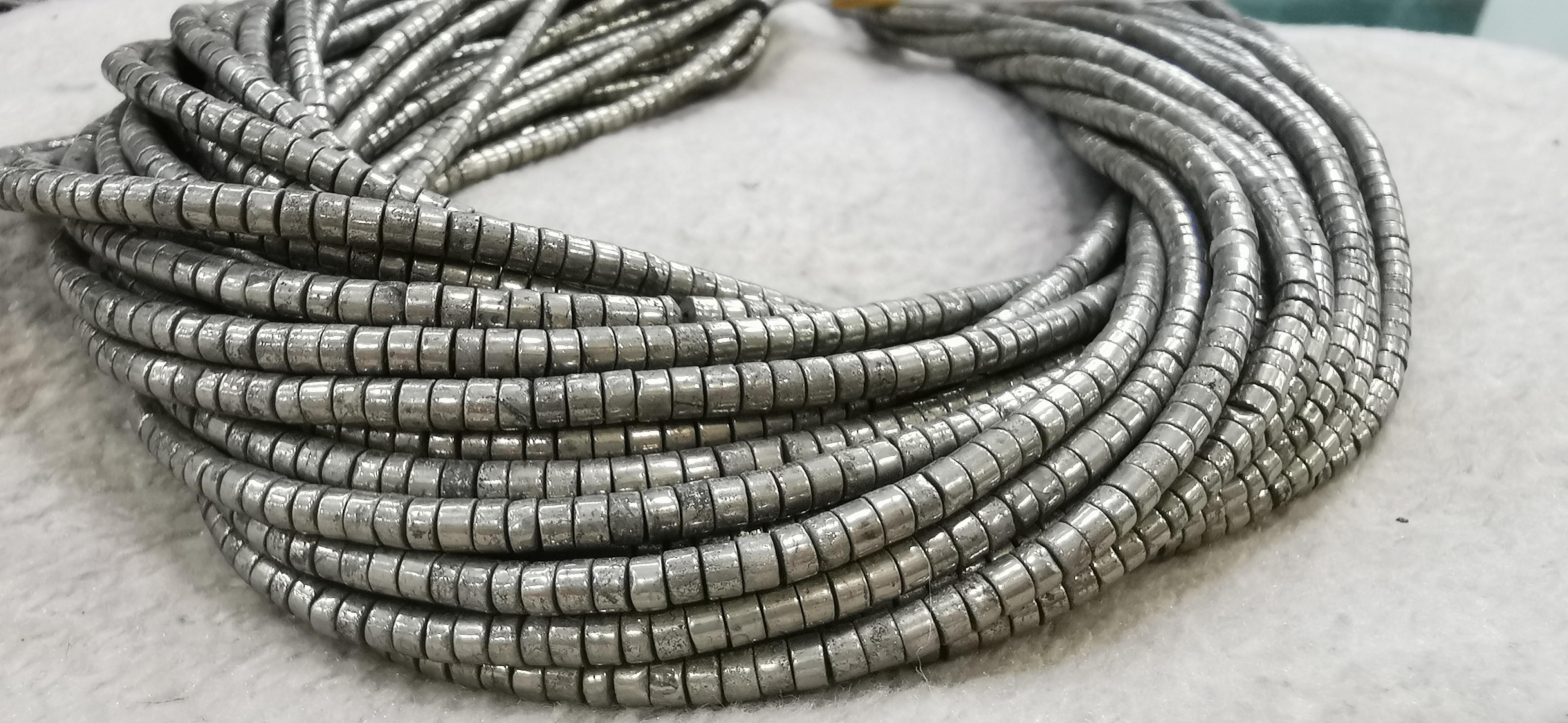 """16 """"filamento completo Natural joyería de pirita de Roundelle Heishi 6x10mm/5x8mm/6x4mm/4x3/3x2mm pirita piedras preciosas cuentas"""