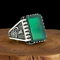 vuzera 925k genuine silver men ring green quartz handmade gift for men all size fashion vintage gift ottoman style from turkey