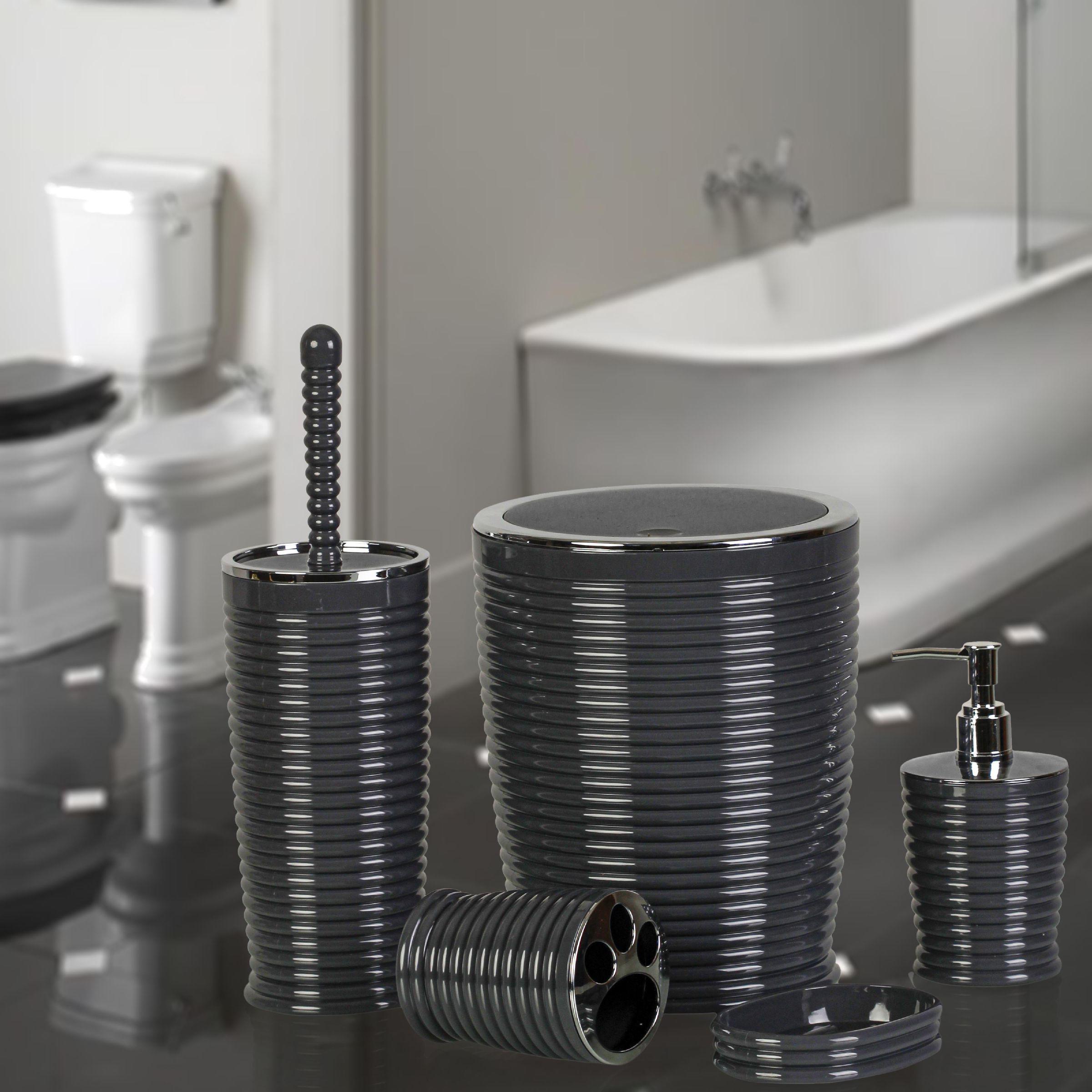 OceanLand Chrome Elegans 5 Pcs Bathroom Set Hard Plastic Toothbrush Holder Soap Dispenser Toilet Brush Dustbin enlarge