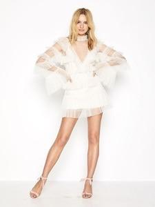 Sexy Mesh Ruffles Casual Slim Mini Party Dress for Women Summer 2021 Boho Korean Long Sleeve Femme Vestidos Mini Robe Nightclub