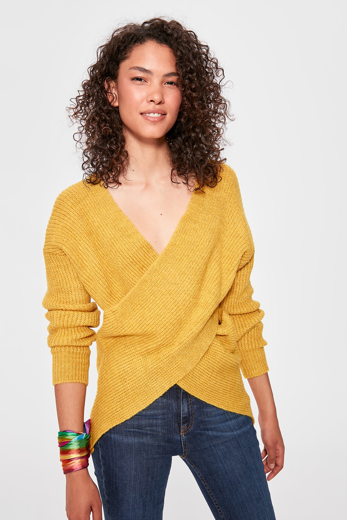 Trendyol mostaza doble Breasted suéter TWOAW20KZ0075