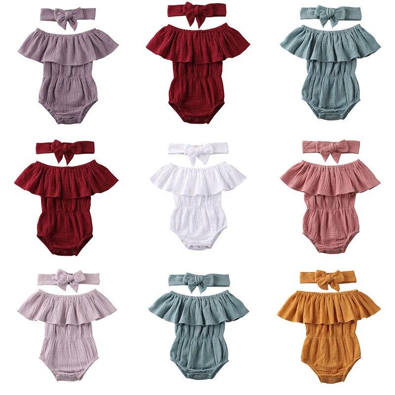 7 colores bebé recién nacido Niño niñas ropa de algodón mamelucos hombro volantes mameluco monos Infantil Niño traje Braga ropa