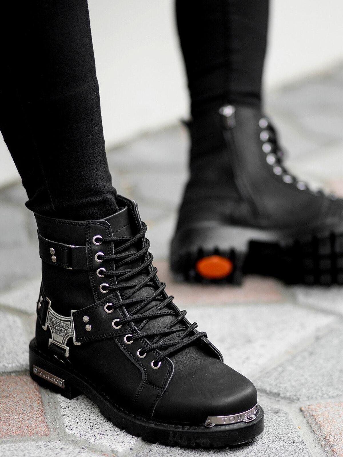 Men's winter boot biker boot Black Motorcycle Boots Metal Decor winter boot men's boot shoes Men's Ankle Boots High Quality Work