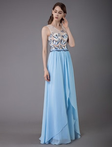 Baby Blue Prom Dress 2020 Chiffon A Line V-Neck Sleeveless Ruffles With Butterfly Party Dresses