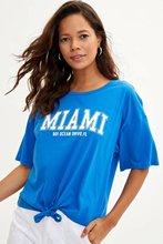 DeFacto Women Fashion Tops Female Casual Loose O-neck Short Sleeve Ladies Letter Pattern T-Shirt Summer Blue - M0998AZ19HS