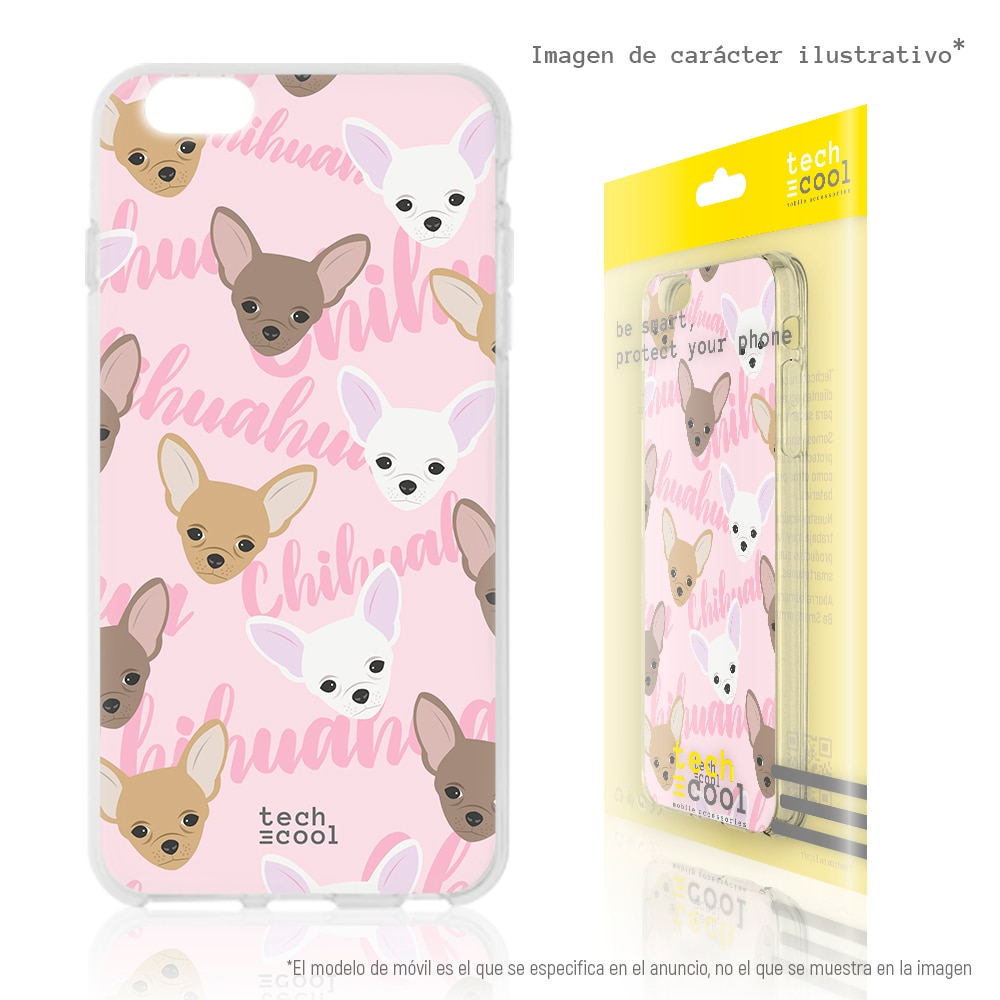 FunnyTech® Funda Silicona para Xiaomi MI6  Mini Chihuahuas fondo rosa