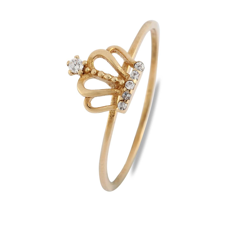 Fabor Jewellery 14 K anillo de oro 14 K minicorona pequeña anillo de moda con ajuste de Zirconia cúbica para mujeres