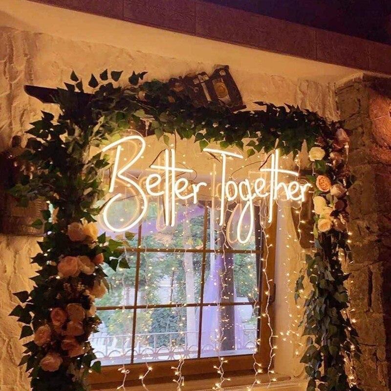 شعار نيون مخصص ضوء أفضل معا LED فليكس لوح أحرف حفل زفاف في الهواء الطلق داخلي INS ديكور للتعليق على الحائط هدية