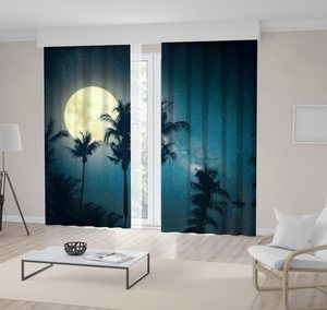 Curtain Palm Tree Tropical Beach with Milky Way Stars and Full Moon in the Night Sky Vintage Colors Retro Style Artwork blue Yellow