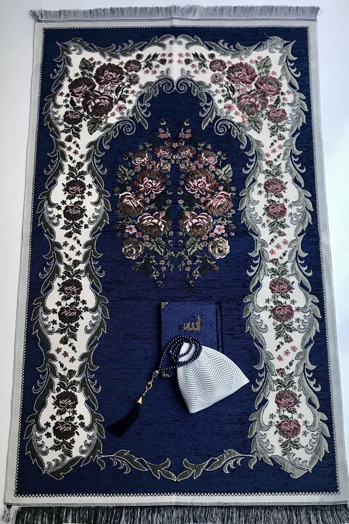 كارديلين الأزرق الداكن الورود سجادة صلاة أغطية الرأس لؤلؤة المسبحة المخملية ياسين