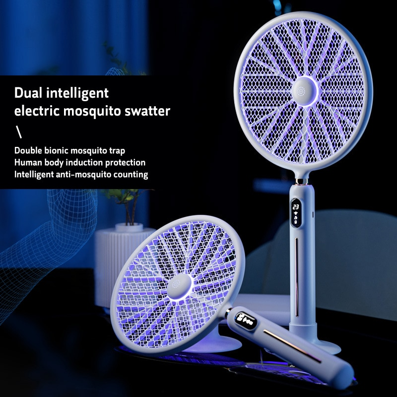 6 في 1 LED عرض ذكي قاتل الماموس الكهربائي منشة 3000 فولت الجهد القوي مبيد حشري جسم الإنسان التعريفي لا الإشعاع مع مروحة