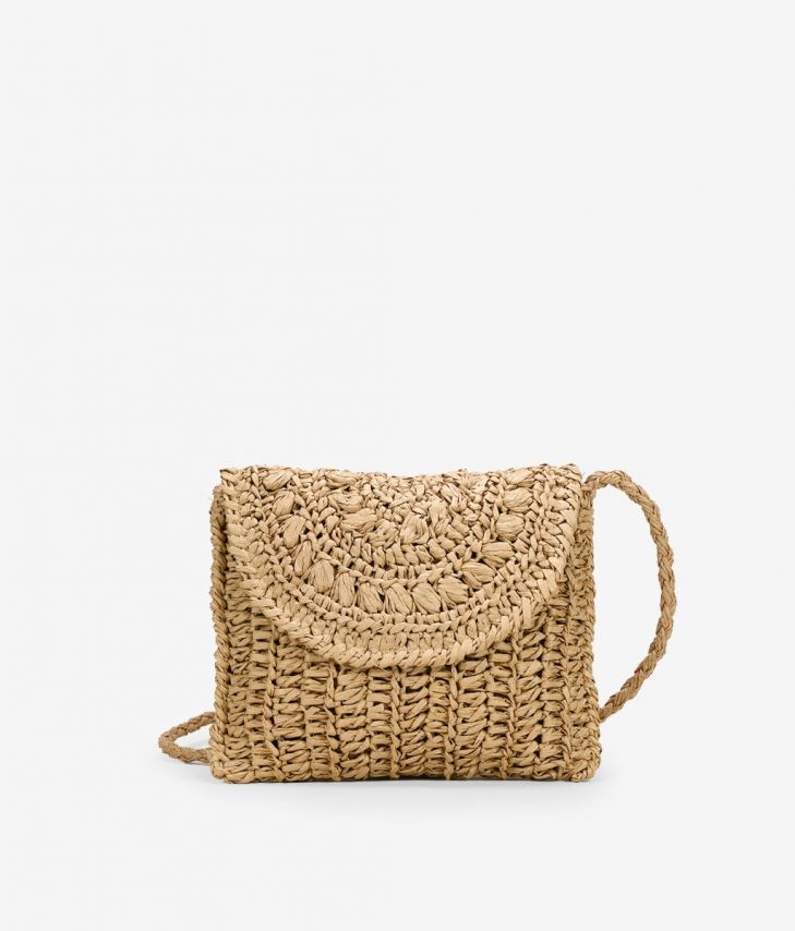 BOSANOVA baguette style bag in brown raffia with cross handle details and chain shoulder handle.
