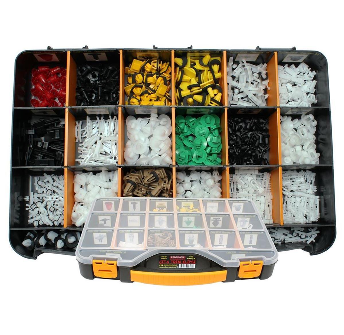 Slat قصاصات قصاصات مجموعة الحقائب 600 قطعة عالمي + قفل السيارة ل-دفع دبوس-برشام تقليم