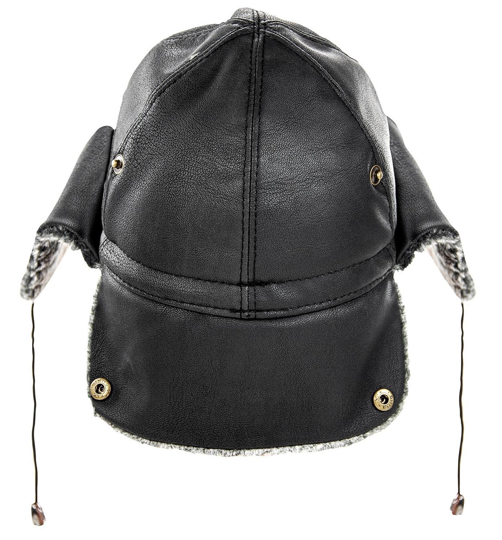 Зимние мужские шапки-бомберы, теплая Турецкая шапка с ушками, кожаная, искусственный мех, летная, зимняя шапка с ушками