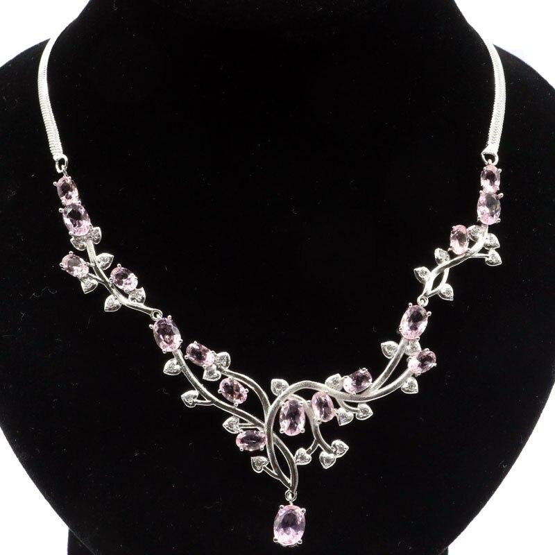 55x38mm 2019 nova chegada 20g criado rosa kunzite branco cz presente para a mulher jóias fazendo colar de prata comprimento 18.5-19 polegada