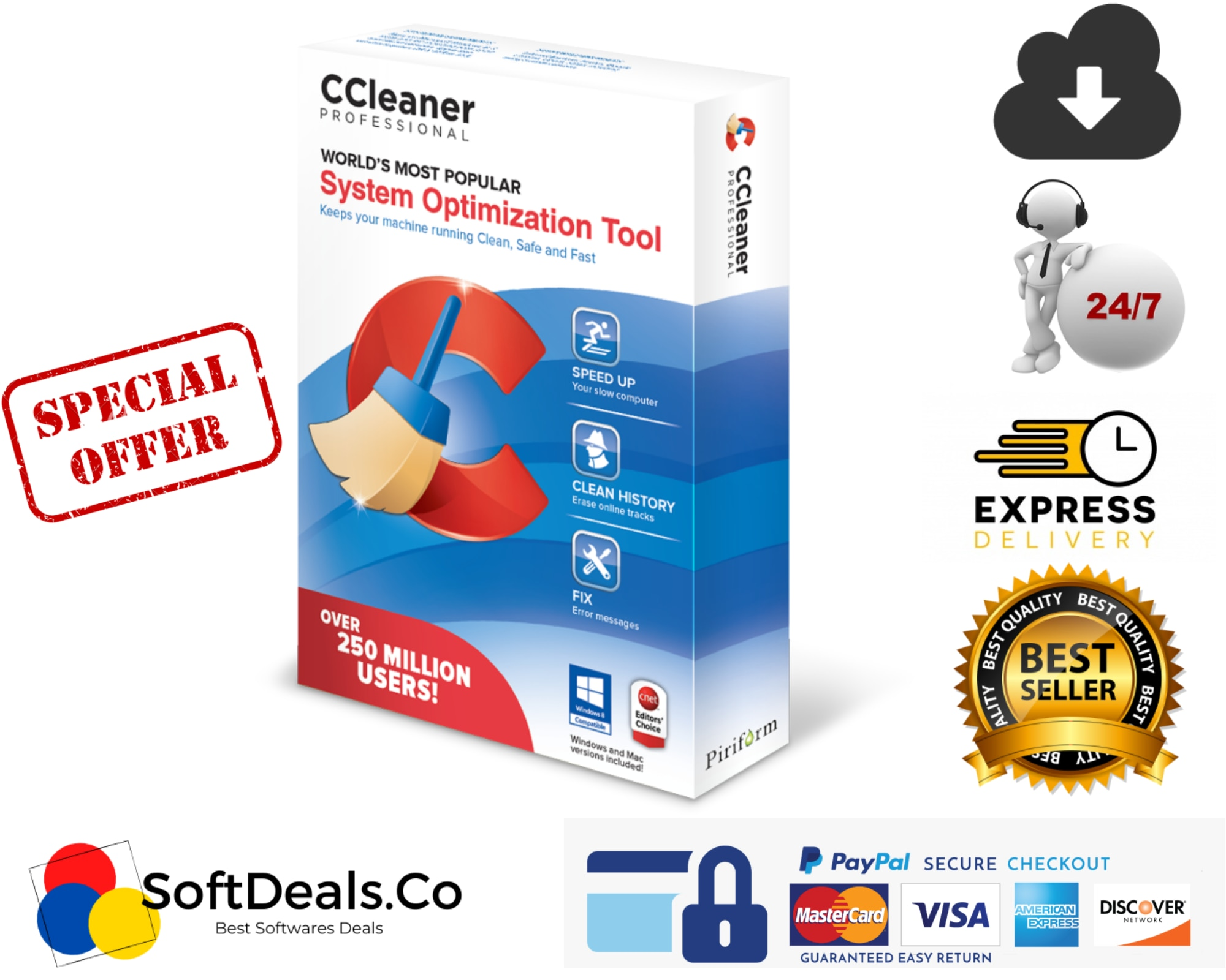 Ccleaner Pro Plus Software For Win10, Win8, Win7 Ccleanerpro, Professional.