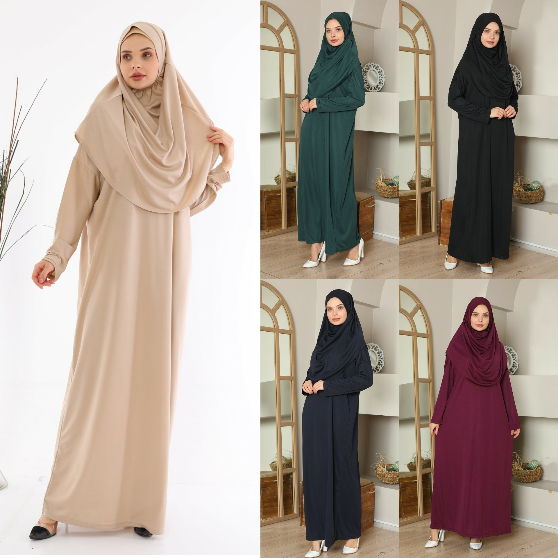 Турецкая мусульманская молитва, 5 цветов, одежда, Женский хиджаб, Длинная женская одежда, традиционная Рамадан с полным покрытием