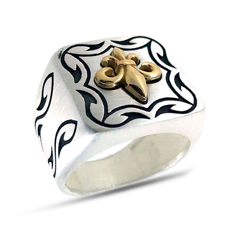 925 Sterling Silver Ring For Men Lily Polar Star Anchor Design Gift For Him Men's Rings Real Pure Silver - Turkish Jewelry