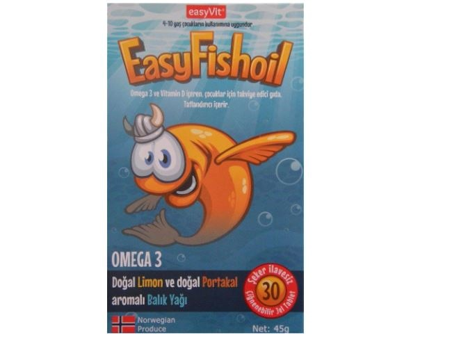 EasyFishoil Orange Flavored 30 Strawberry Tablet