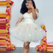 Pure White Prom Dress Off-Shouder Tulle Party Dress With Floral Mini Evening Dress For Women Brithda