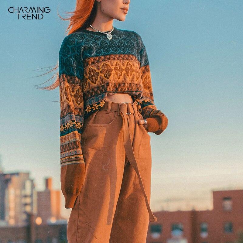 Chritmas Pullover Für Frauen Retro Chic Spleißen Farbe Hoodies Junges Mädchen Winter Ernte Tops Oversize Strick Kurze Weibliche Pullover