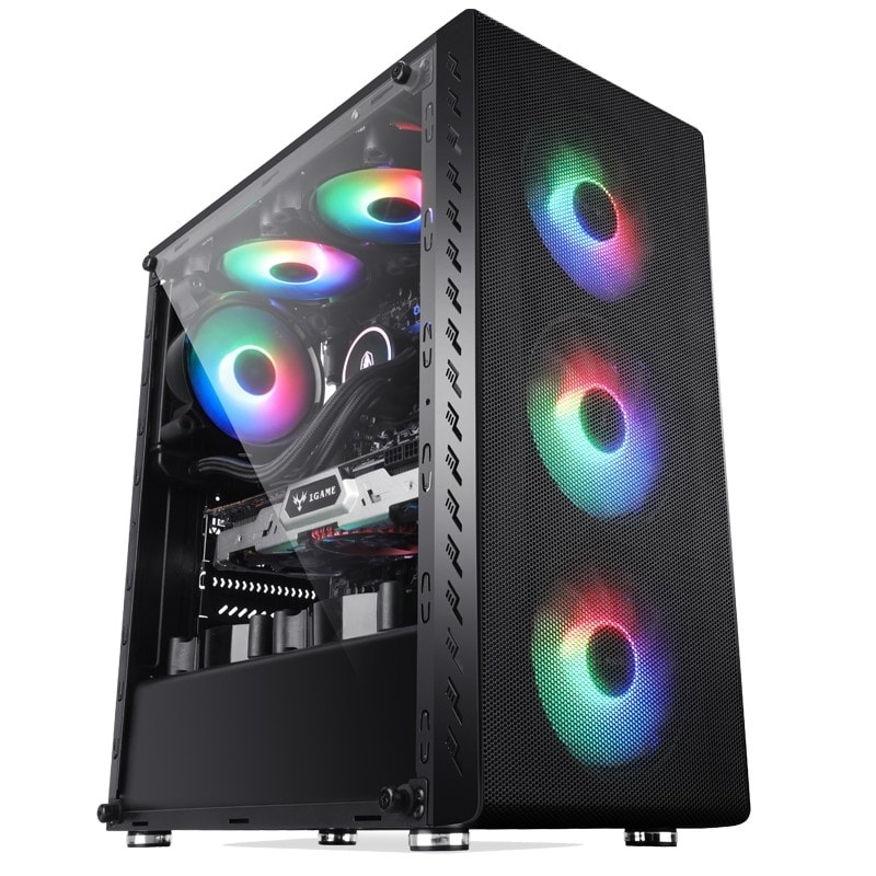 Performax Xenom 4 Fan Computer Case Led Glass and Windowed PC Case 4x Rainbow Fan Atx Case Mega Comp
