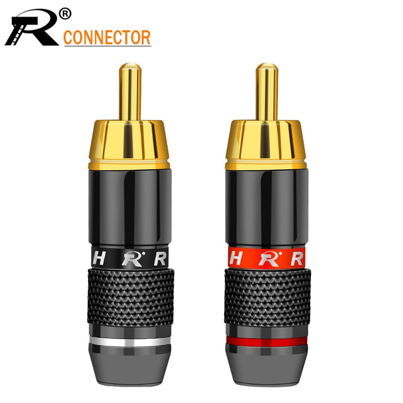 2Pcs/1Pair Gold Plated RCA Connector RCA male plug adapter Video/Audio Wire Connector Support 6mm Ca